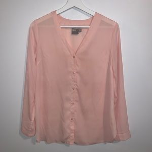 asos US 4 Pink sheer button front long sleeve top